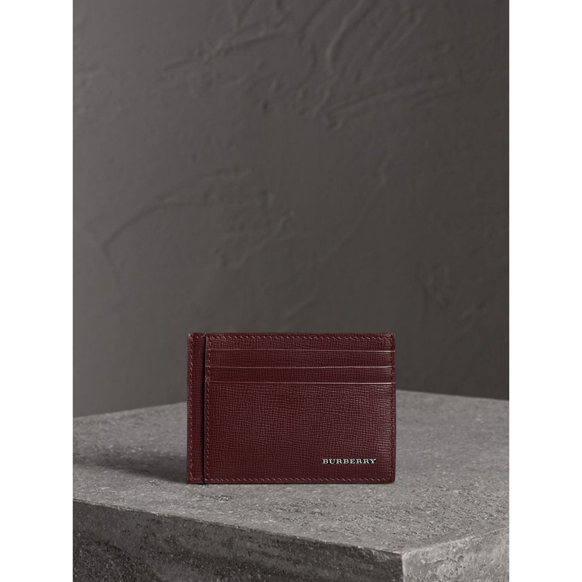 London Leather Card Case in Burgundy Red - Men | Burberry - gallery image 3