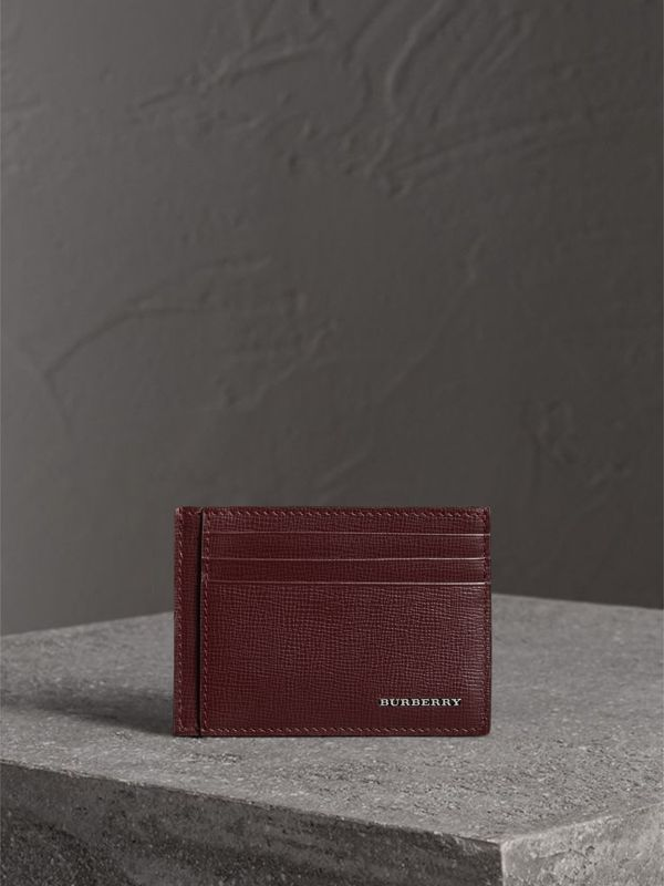 London Leather Card Case in Burgundy Red | Burberry Canada - cell image 3