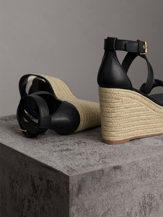 Leather and House Check Platform Espadrille Wedge Sandals in Navy - Women | Burberry United States - cell image 3