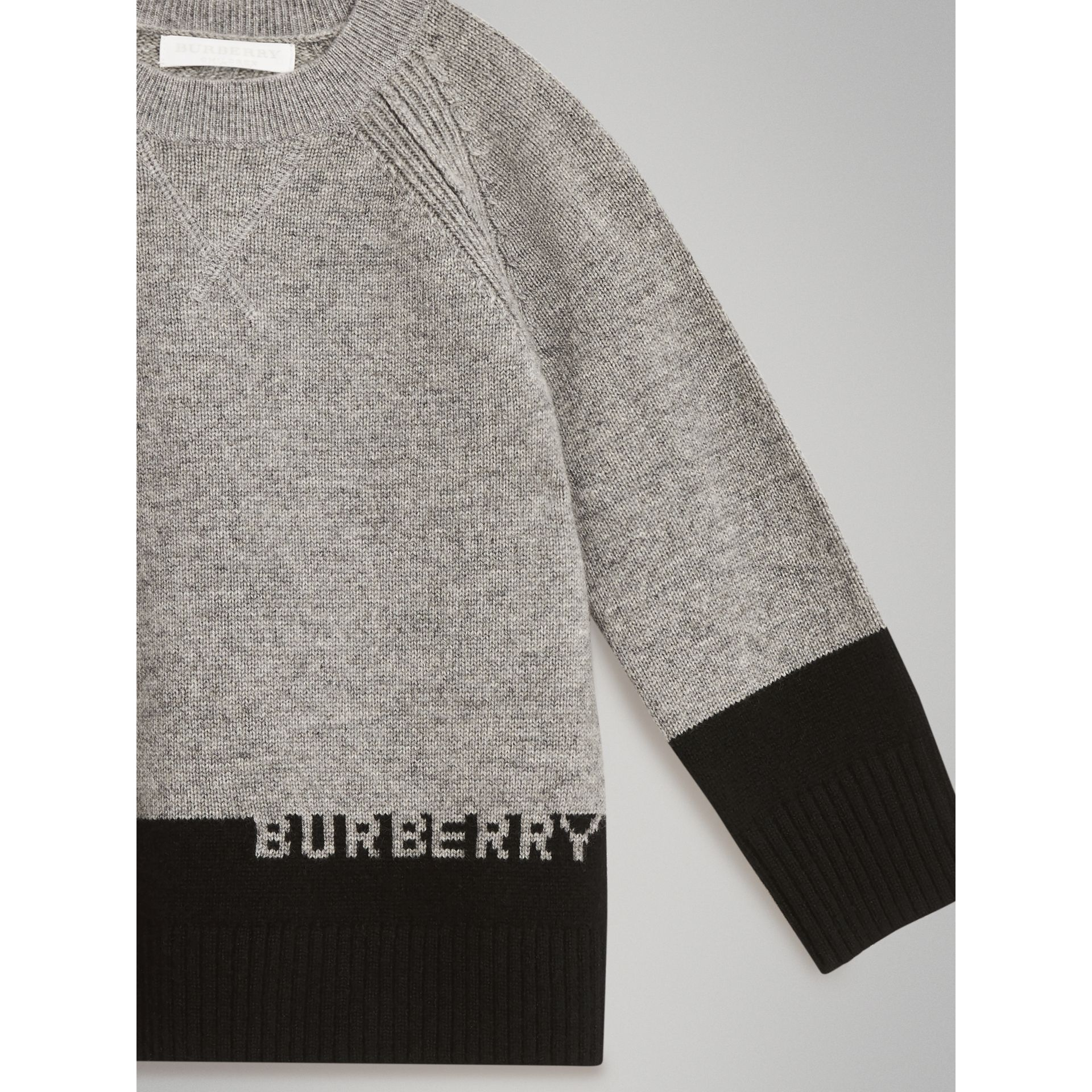 Logo Intarsia Cashmere Sweater in Grey Melange | Burberry Singapore - gallery image 4