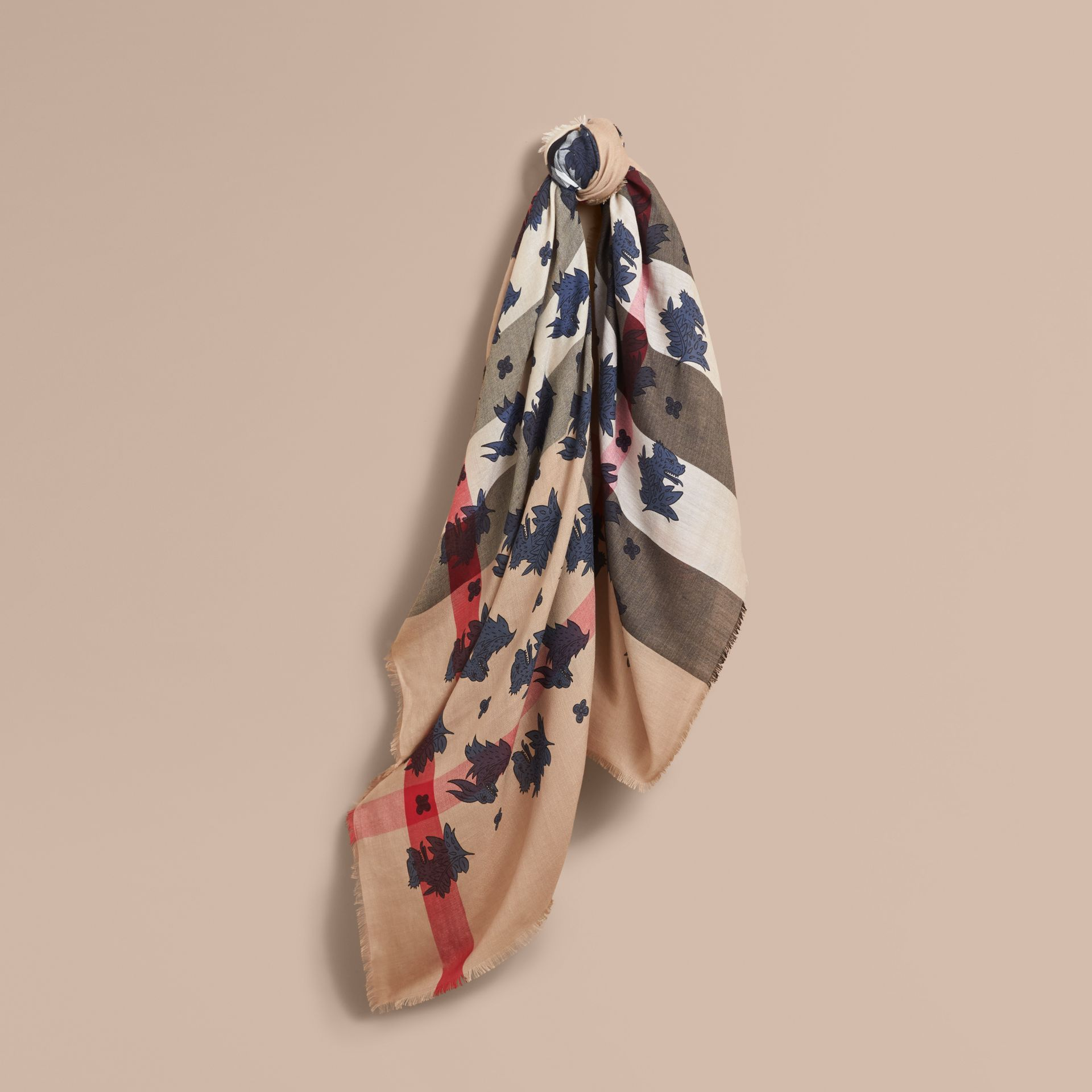 Beasts Print and Check Silk Wool Blend Square Scarf in Camel/stone Blue | Burberry Hong Kong - gallery image 1