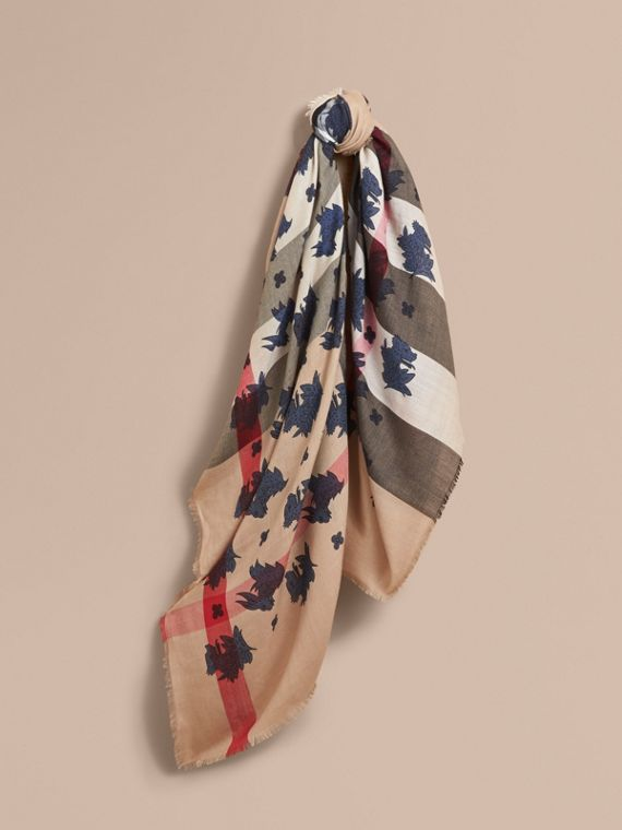 Beasts Print and Check Silk Wool Blend Square Scarf in Camel/stone Blue