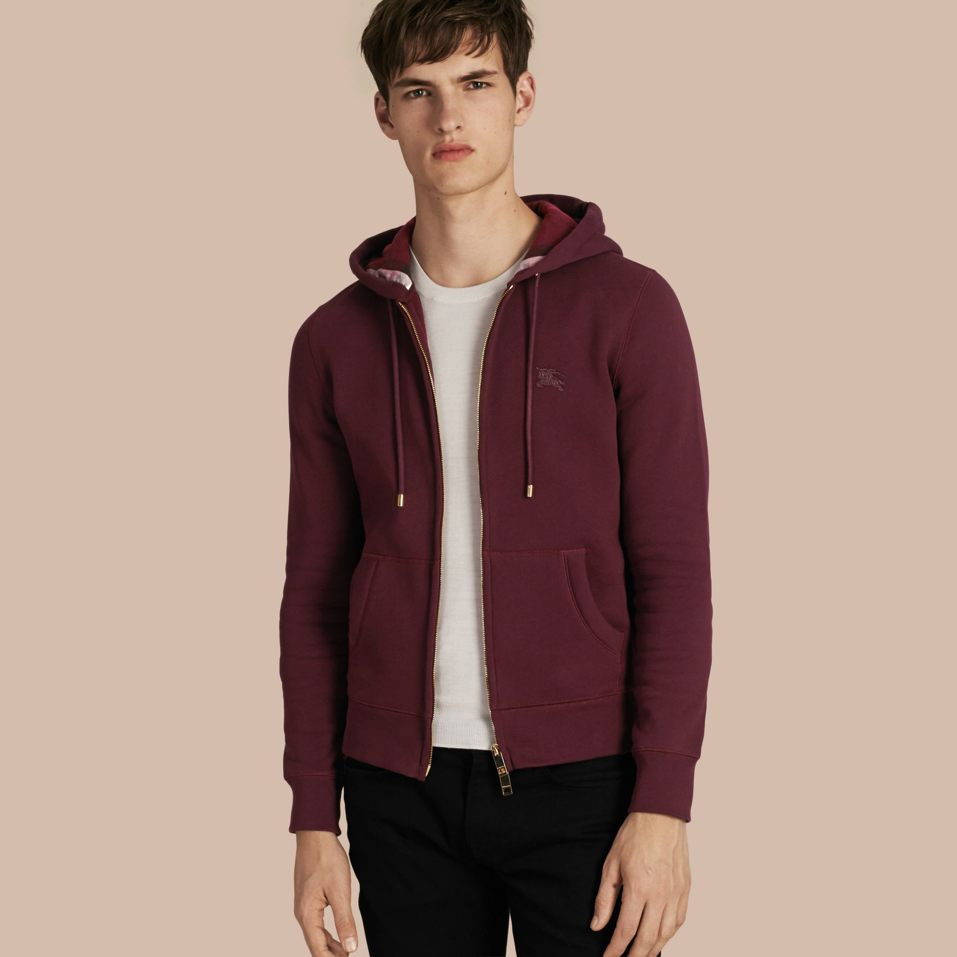 Deep claret Hooded Cotton Jersey Top - gallery image 1