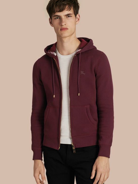 Hooded Cotton Jersey Top Deep Claret