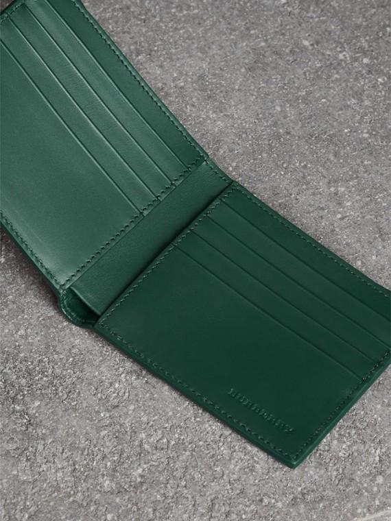 Grainy Leather International Bifold Wallet in Dark Cyan - Men | Burberry Canada - cell image 3