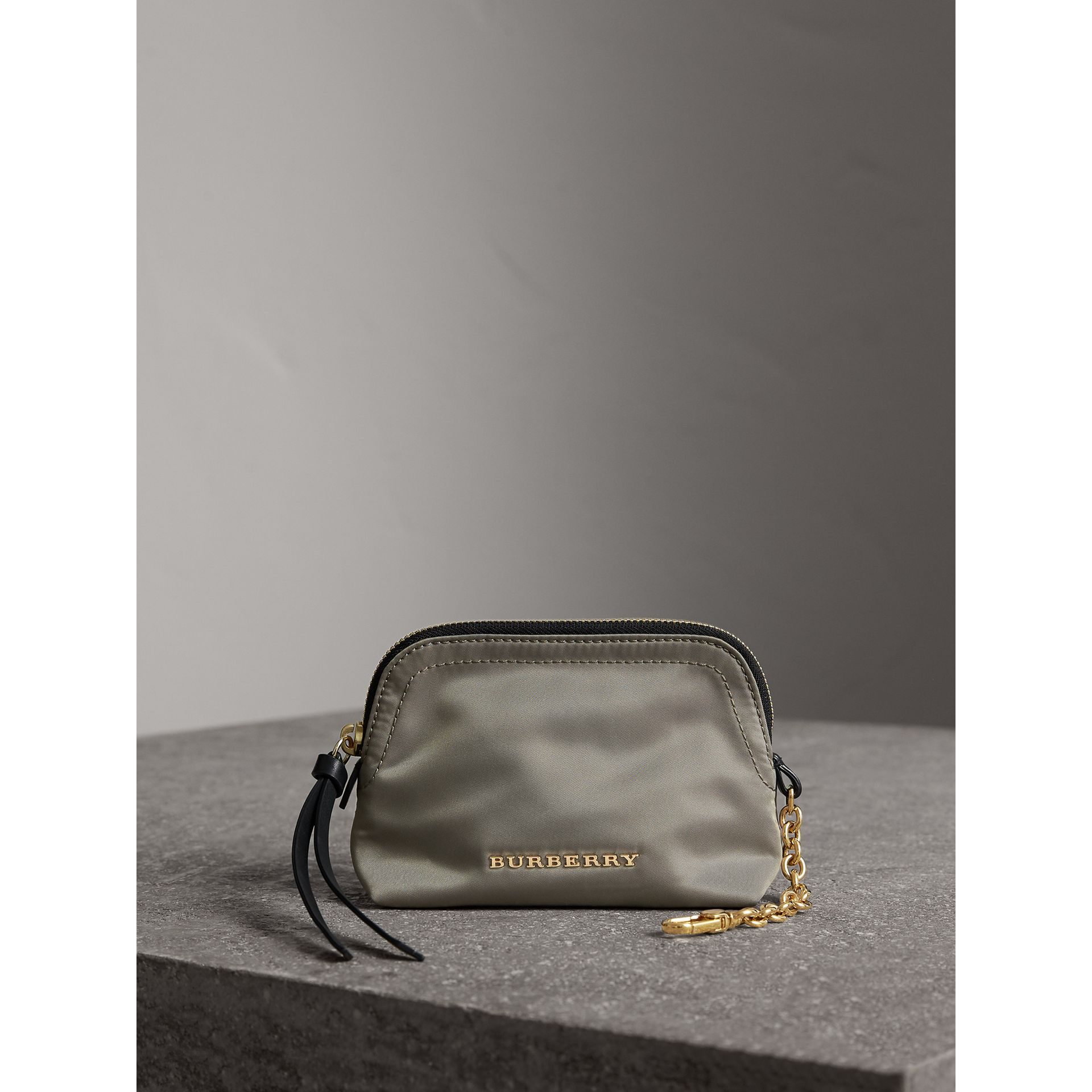 Small Zip-top Technical Nylon Pouch in Thistle Grey - Women | Burberry Australia - gallery image 1