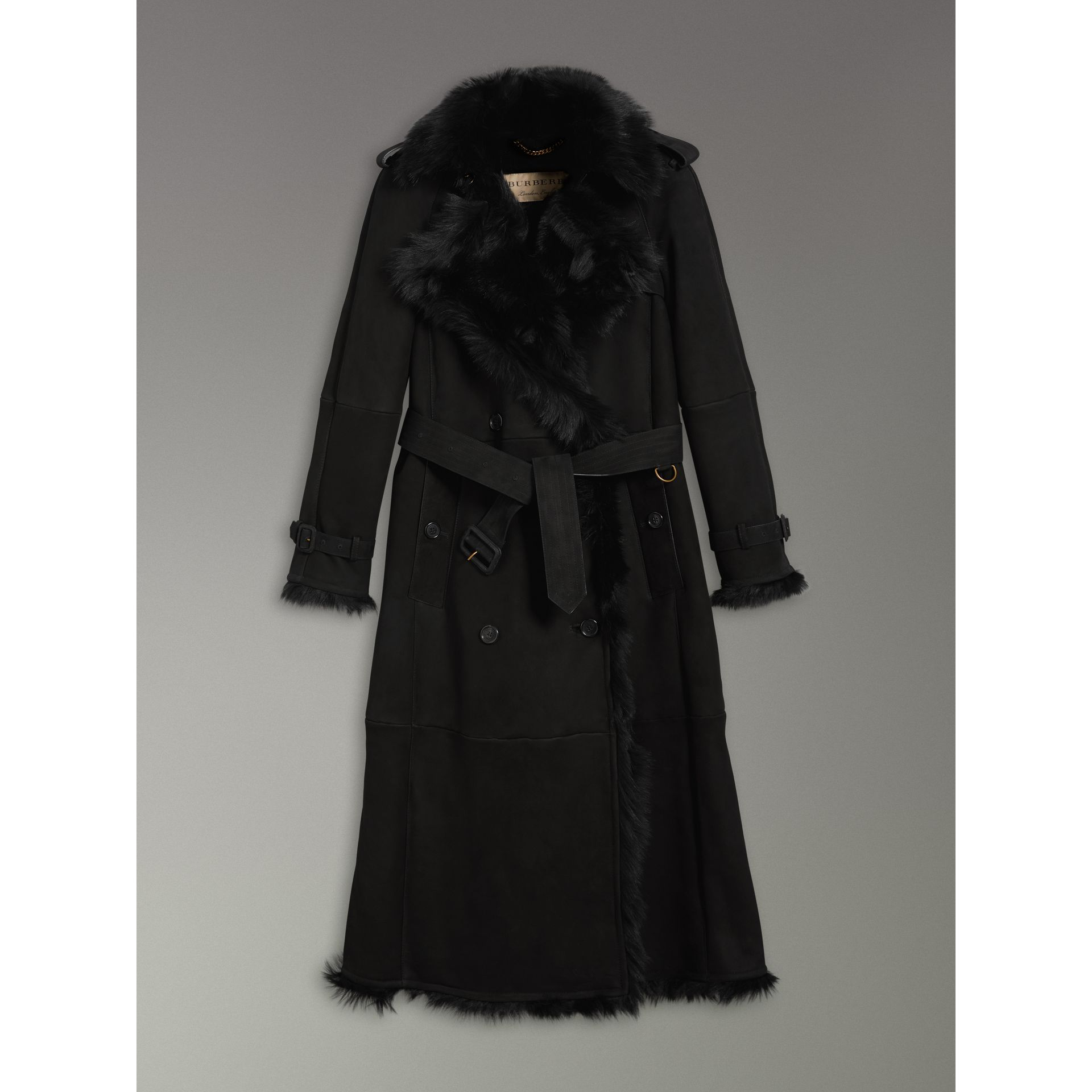 Shearling Extra-long Trench Coat in Black - Women | Burberry - gallery image 3