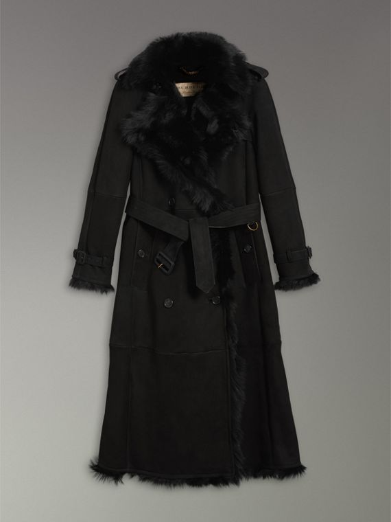 Trench extra-long en shearling (Noir) - Femme | Burberry - cell image 3