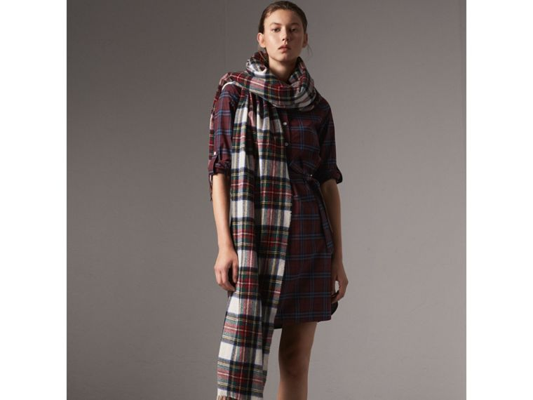 Check Cotton Tunic Dress in Crimson Red - Women | Burberry United Kingdom - cell image 4