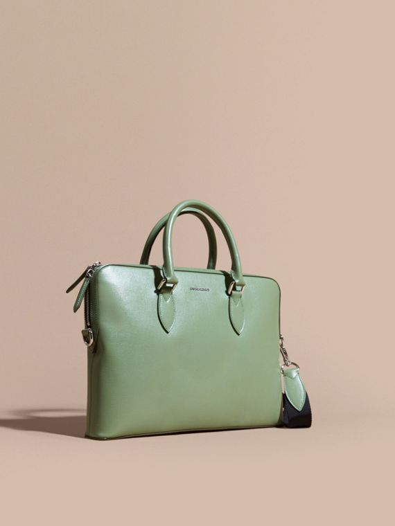 Sac The Barrow fin en cuir London (Vert Antique)