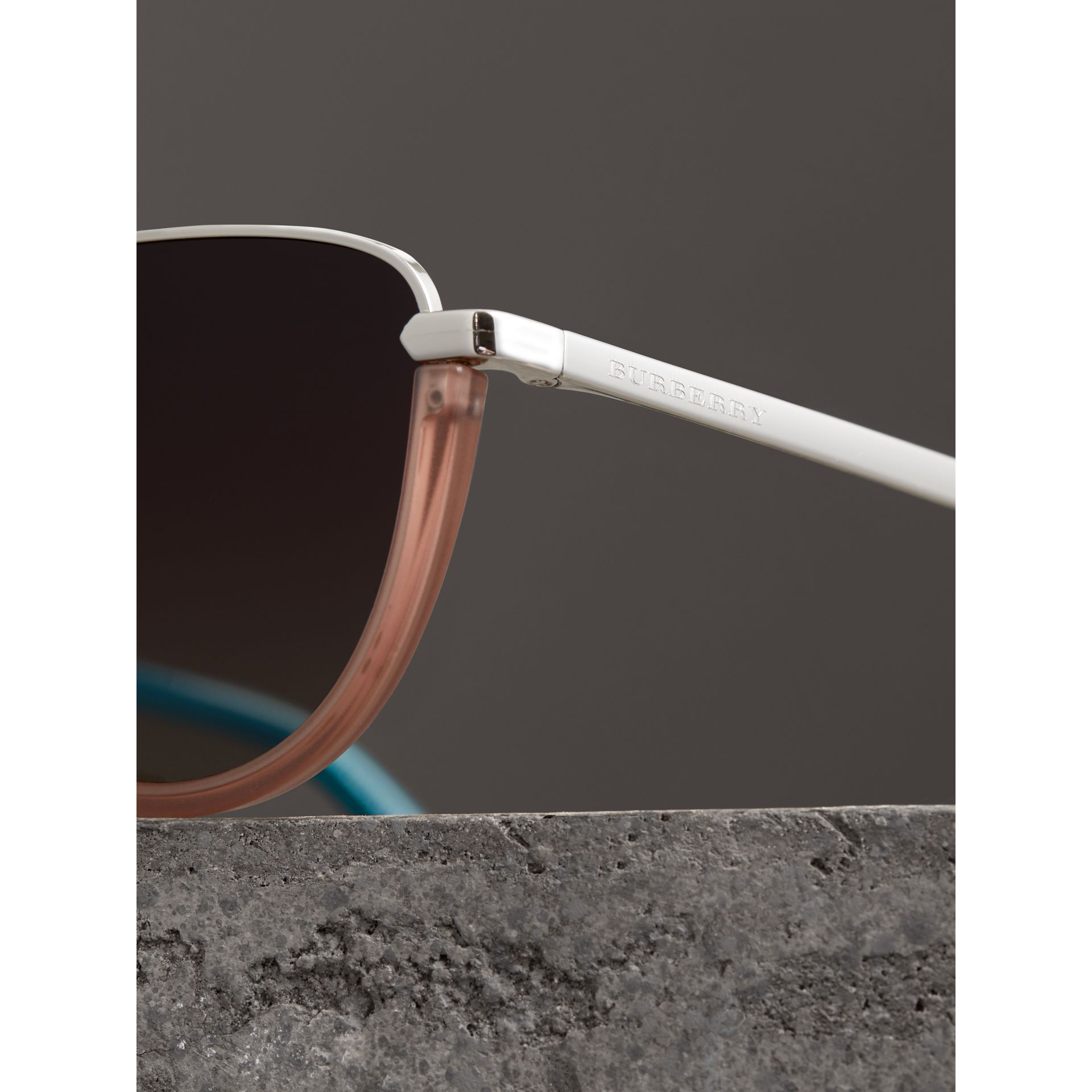 Half Moon Pilot Round Frame Sunglasses in Nude - Women | Burberry - gallery image 1