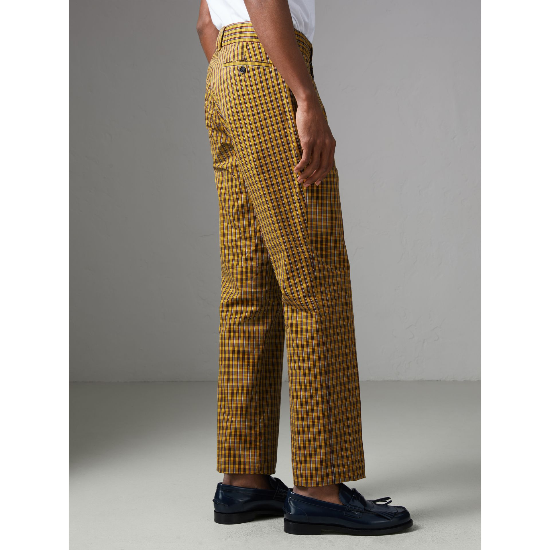 Check Washed Cotton Trousers in Bright Saffron Yellow - Men | Burberry - gallery image 2