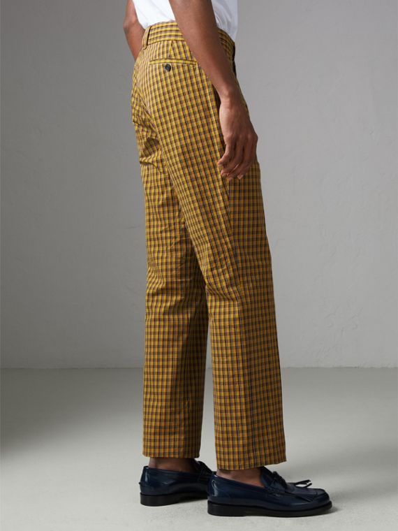 Check Washed Cotton Trousers in Bright Saffron Yellow - Men | Burberry - cell image 2