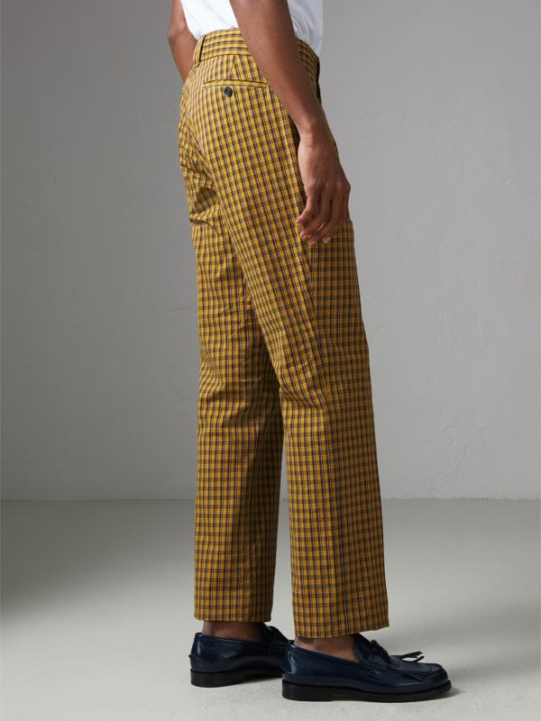 Check Washed Cotton Trousers in Bright Saffron Yellow - Men | Burberry Hong Kong - cell image 2