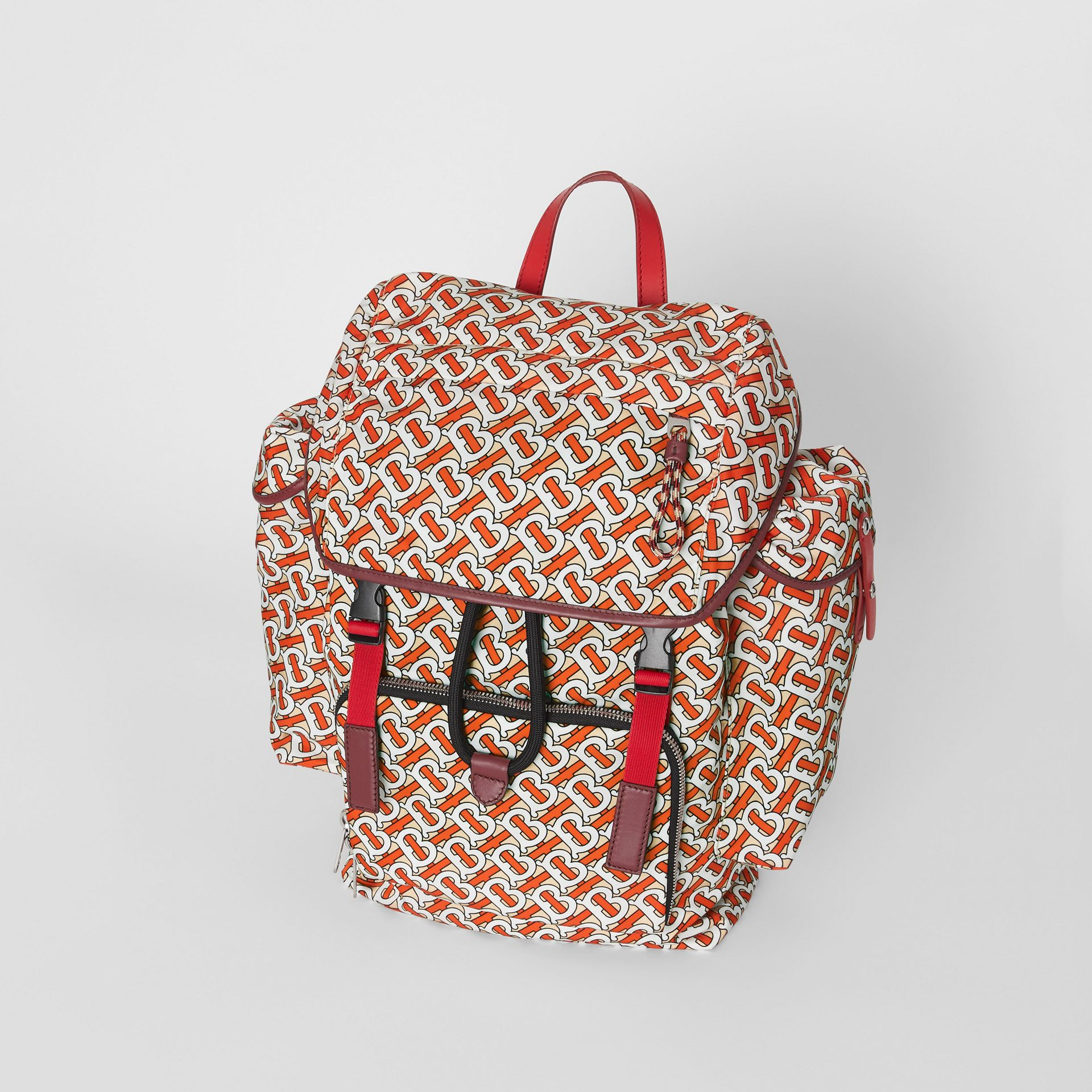 Medium Leather Trim Monogram Print Backpack in Vermilion - Men | Burberry Hong Kong - gallery image 3