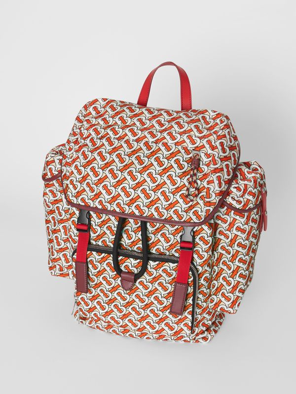 Medium Leather Trim Monogram Print Backpack in Vermilion - Men | Burberry United Kingdom - cell image 3