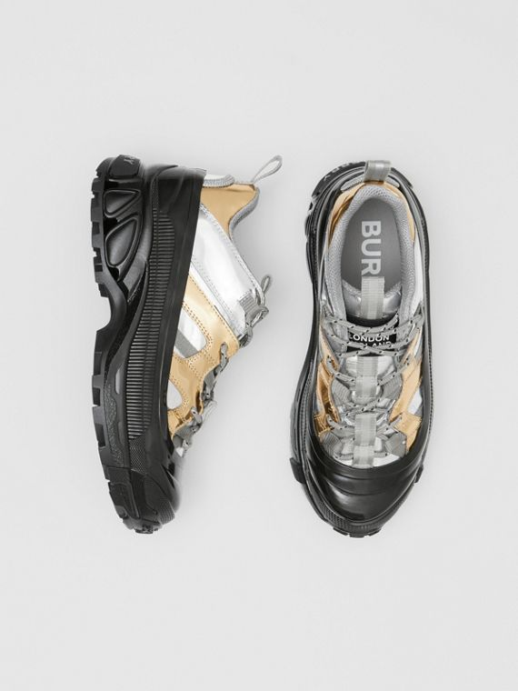 Two-tone Metallic Leather Arthur Sneakers in Silver/gold