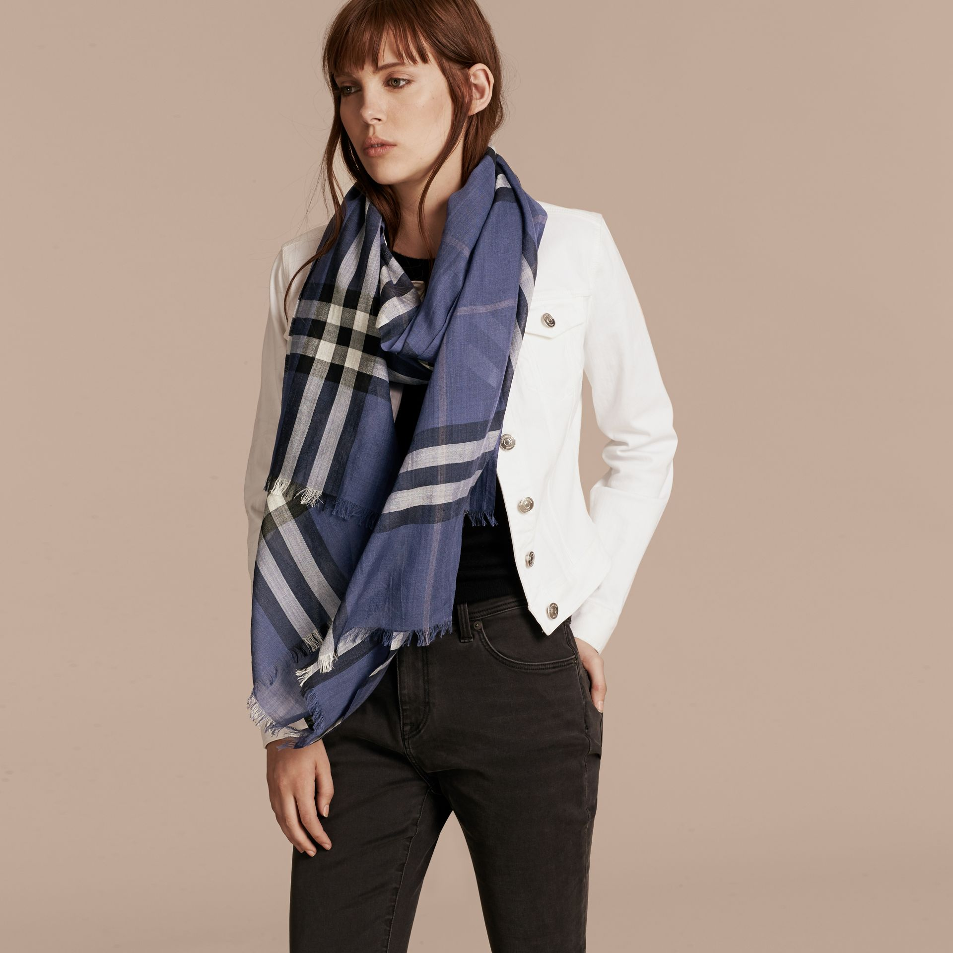 Thistle blue Lightweight Check Wool and Silk Scarf Thistle Blue - gallery image 3
