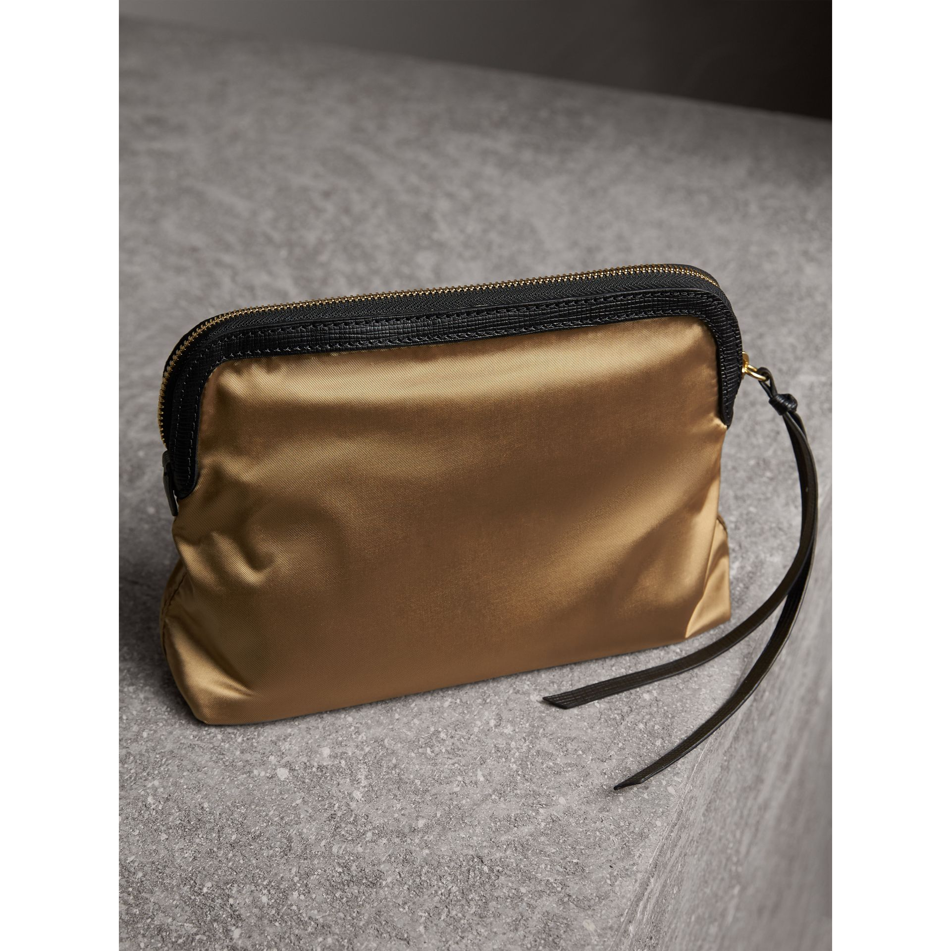 Large Zip-top Leather-trimmed Technical Nylon Pouch in Gold/black - Women | Burberry United Kingdom - gallery image 3