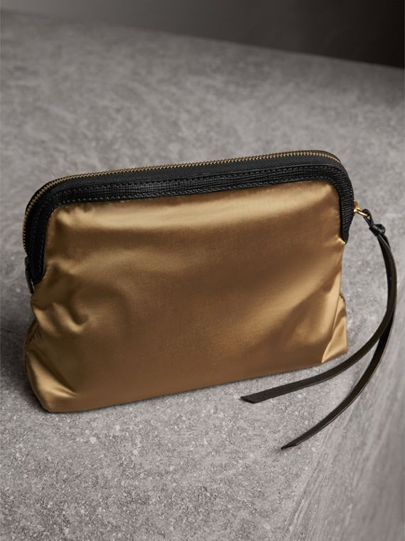 Large Zip-top Leather-trimmed Technical Nylon Pouch in Gold/black - Women | Burberry United Kingdom - cell image 2