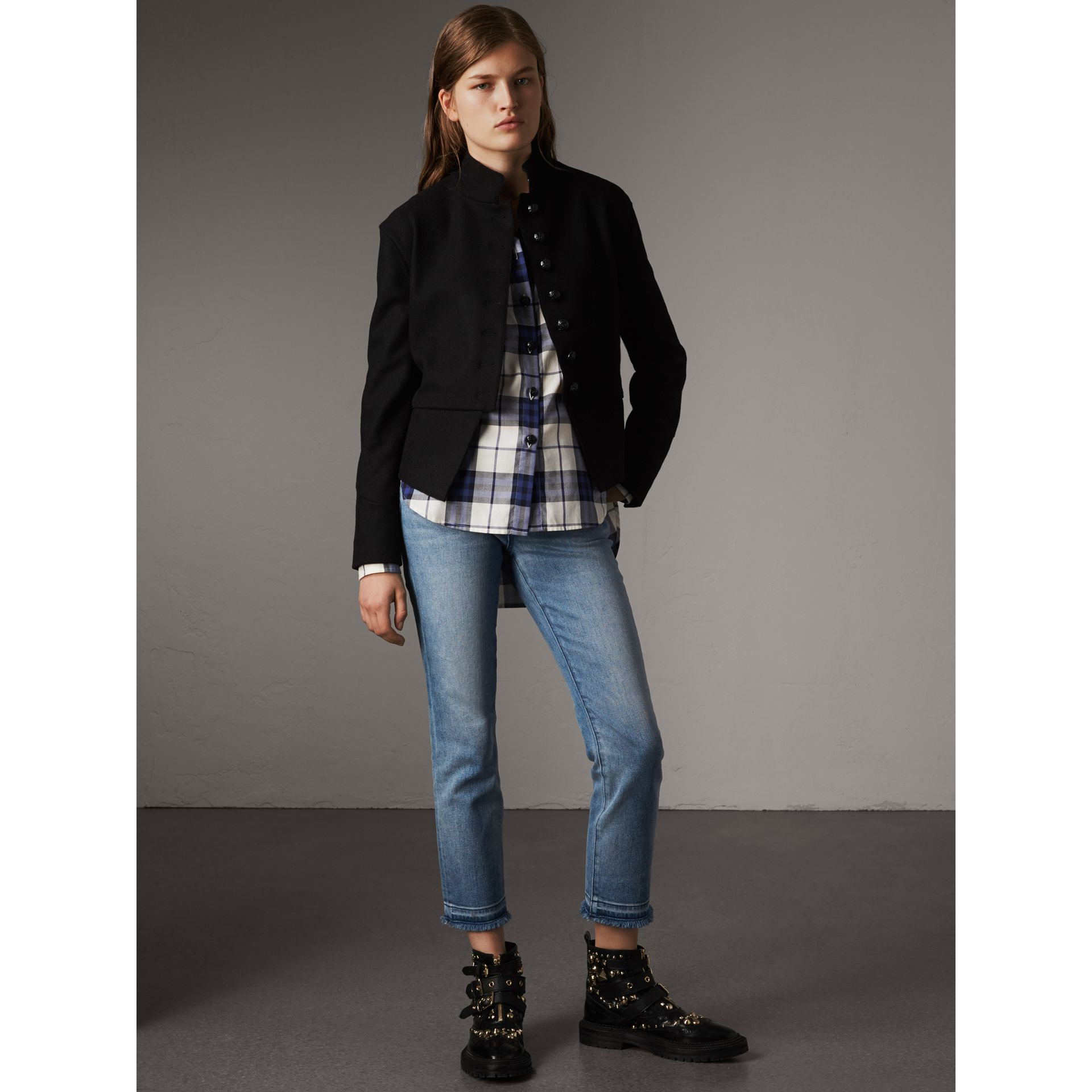 Check Cotton Flannel Military Shirt in Bright Navy - Women | Burberry - gallery image 4