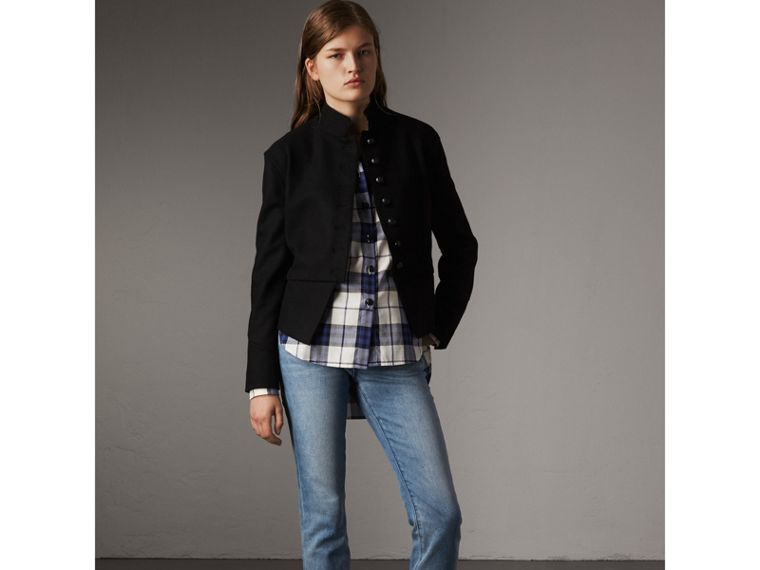 Check Cotton Flannel Military Shirt in Bright Navy - Women | Burberry - cell image 4
