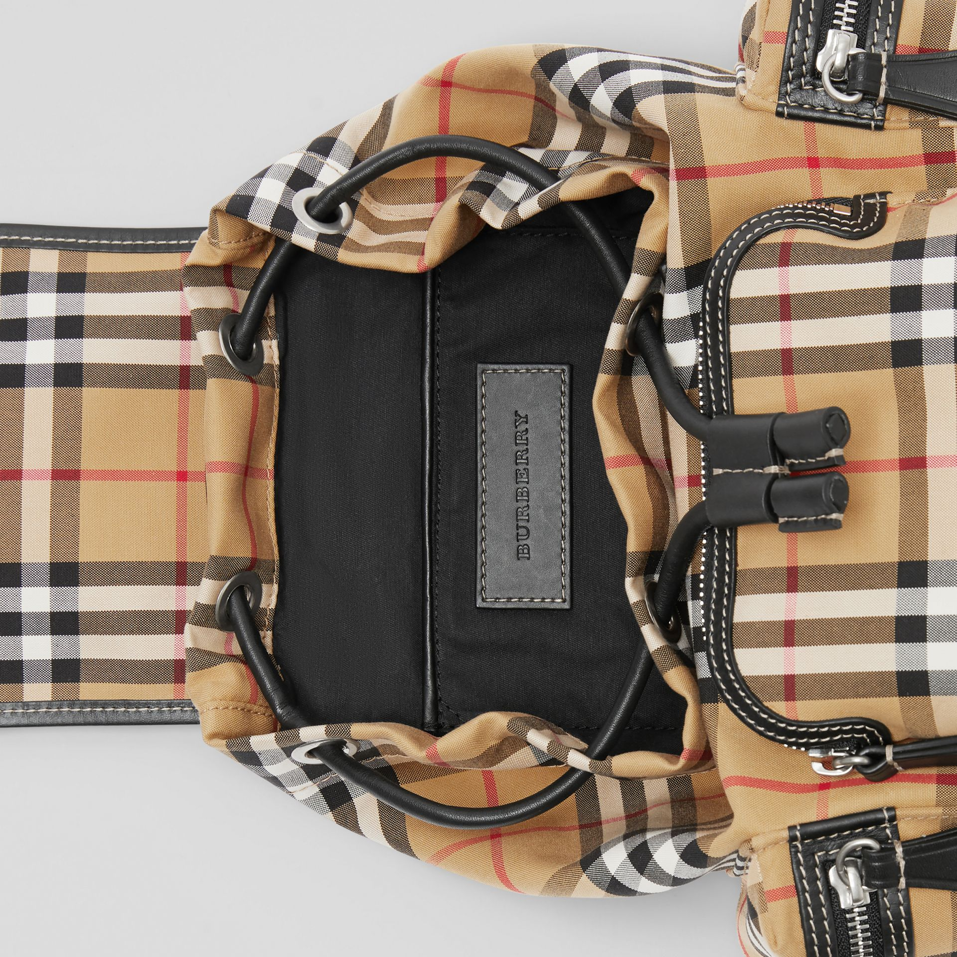 The Small Rucksack in Vintage Check and Leather in Antique Yellow - Women | Burberry Singapore - gallery image 5