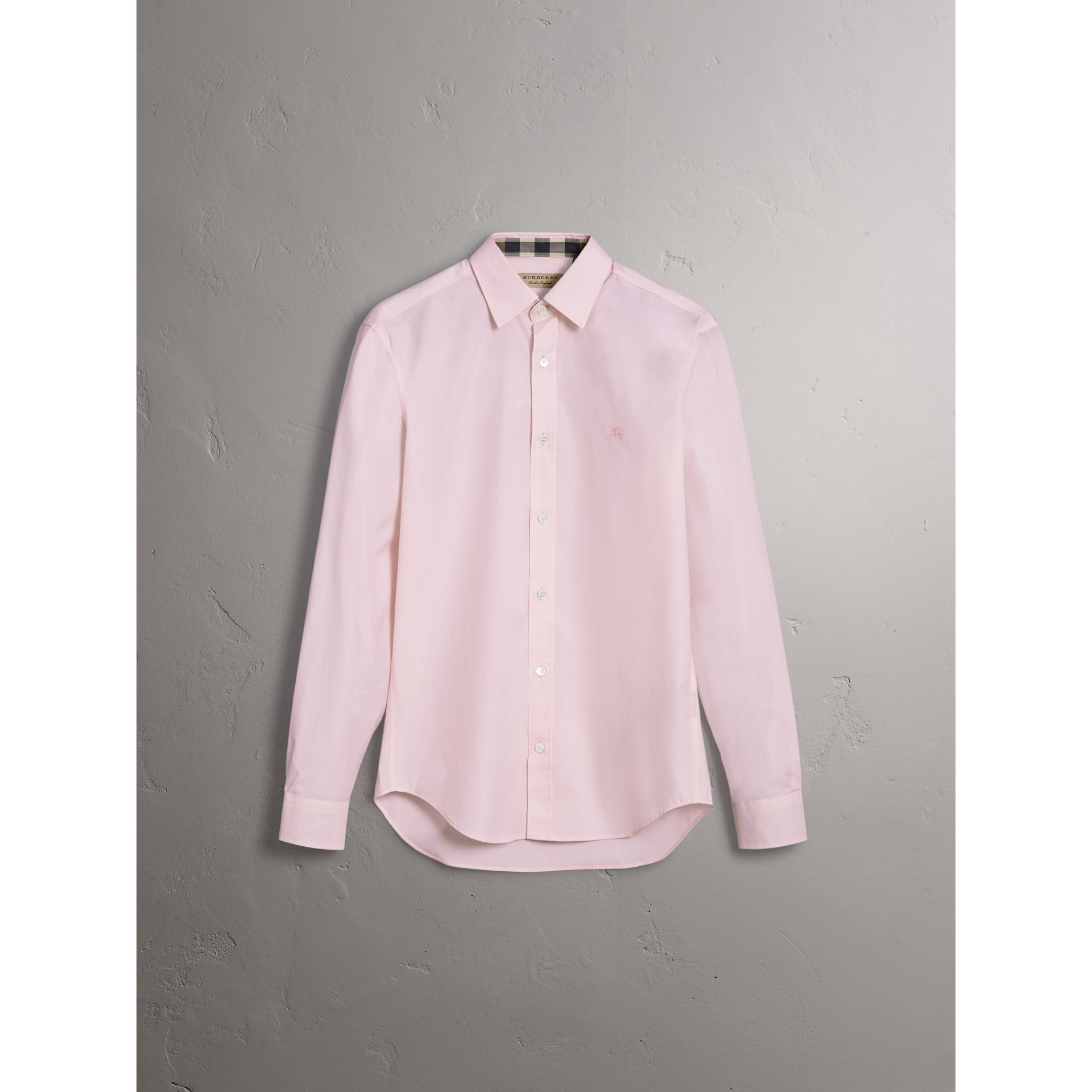 Check Detail Stretch Cotton Poplin Shirt in Pale Pink - Men | Burberry Australia - gallery image 3