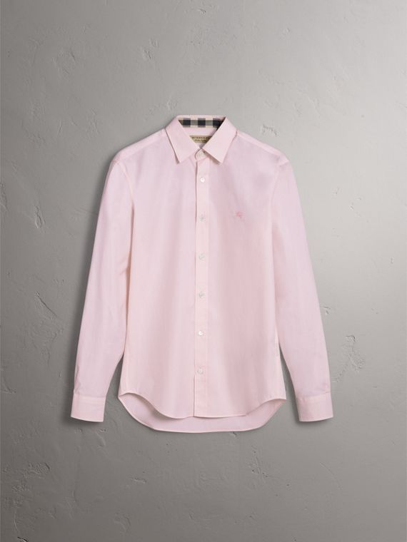 Check Detail Stretch Cotton Poplin Shirt in Pale Pink - Men | Burberry Australia - cell image 3