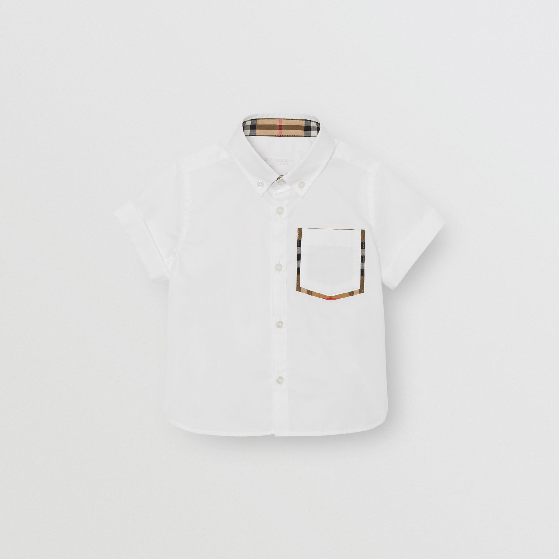 Short-sleeve Check Detail Cotton Oxford Shirt in White | Burberry - gallery image 0