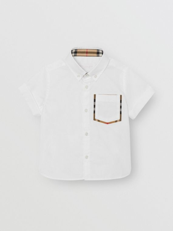Chemise Oxford à manches courtes en coton à détails check (Blanc)
