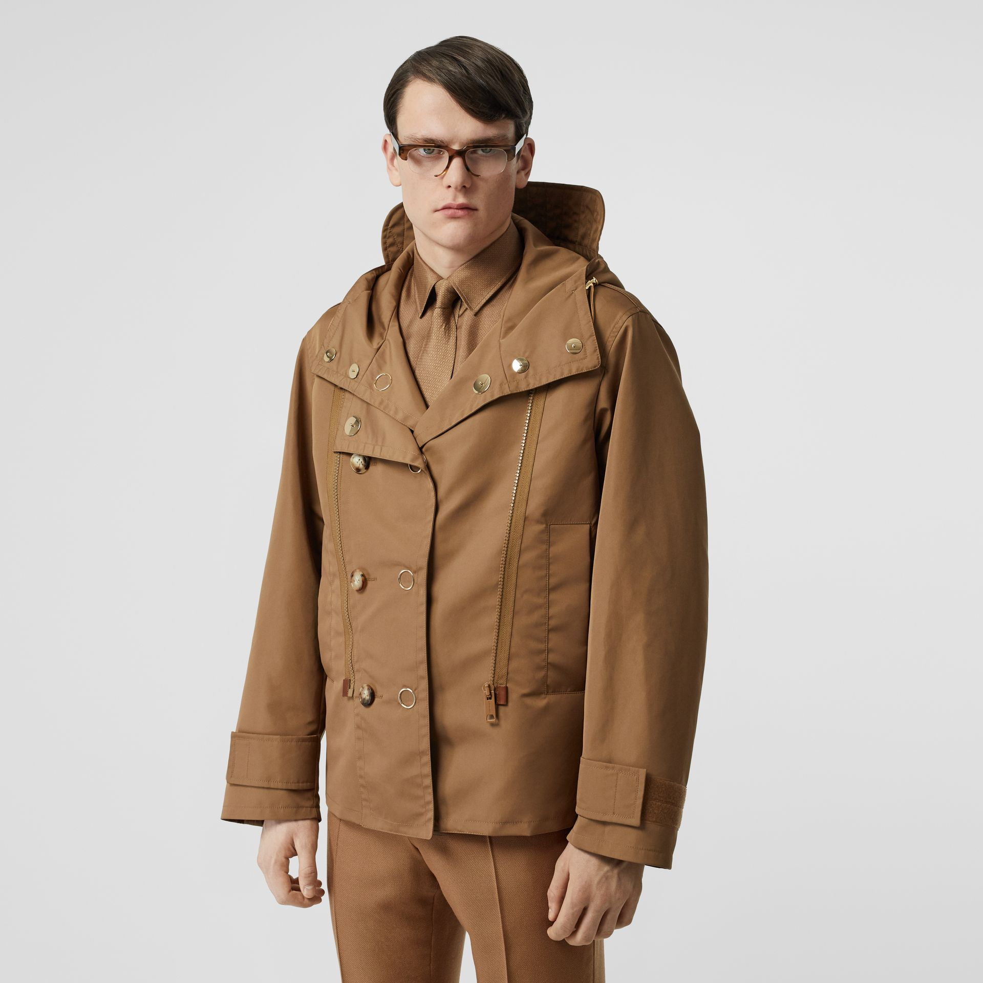 Detachable Panel Detail Hooded Jacket in Warm Walnut - Men | Burberry United Kingdom - gallery image 0