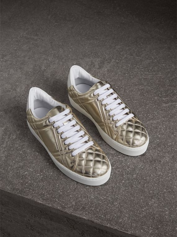 Metallic Check-quilted Leather Trainers in Light Gold
