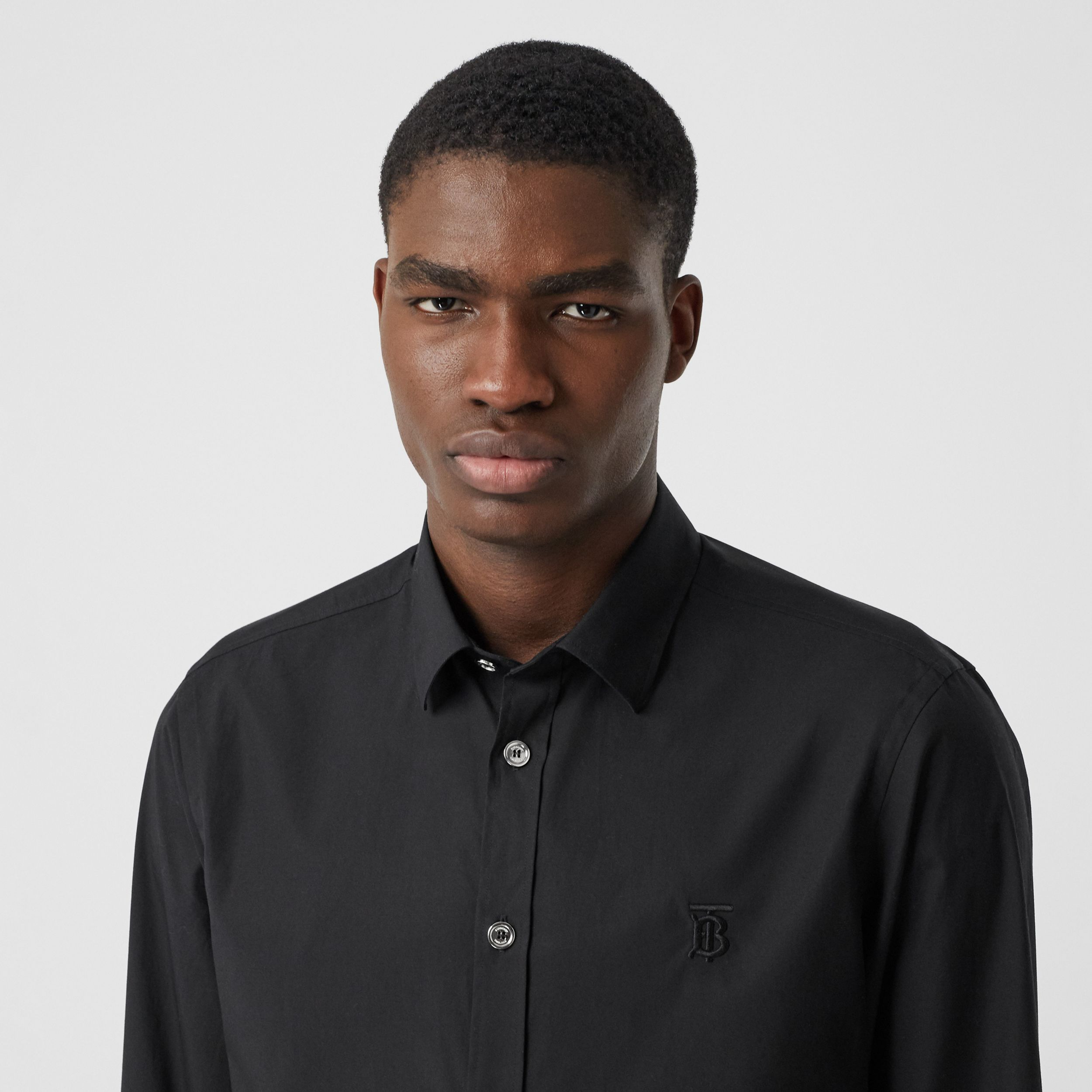 Monogram Motif Stretch Cotton Poplin Shirt in Black - Men | Burberry - 2