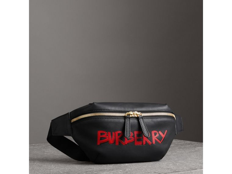 Medium Graffiti Print Leather Bum Bag in Black - Men | Burberry - cell image 4