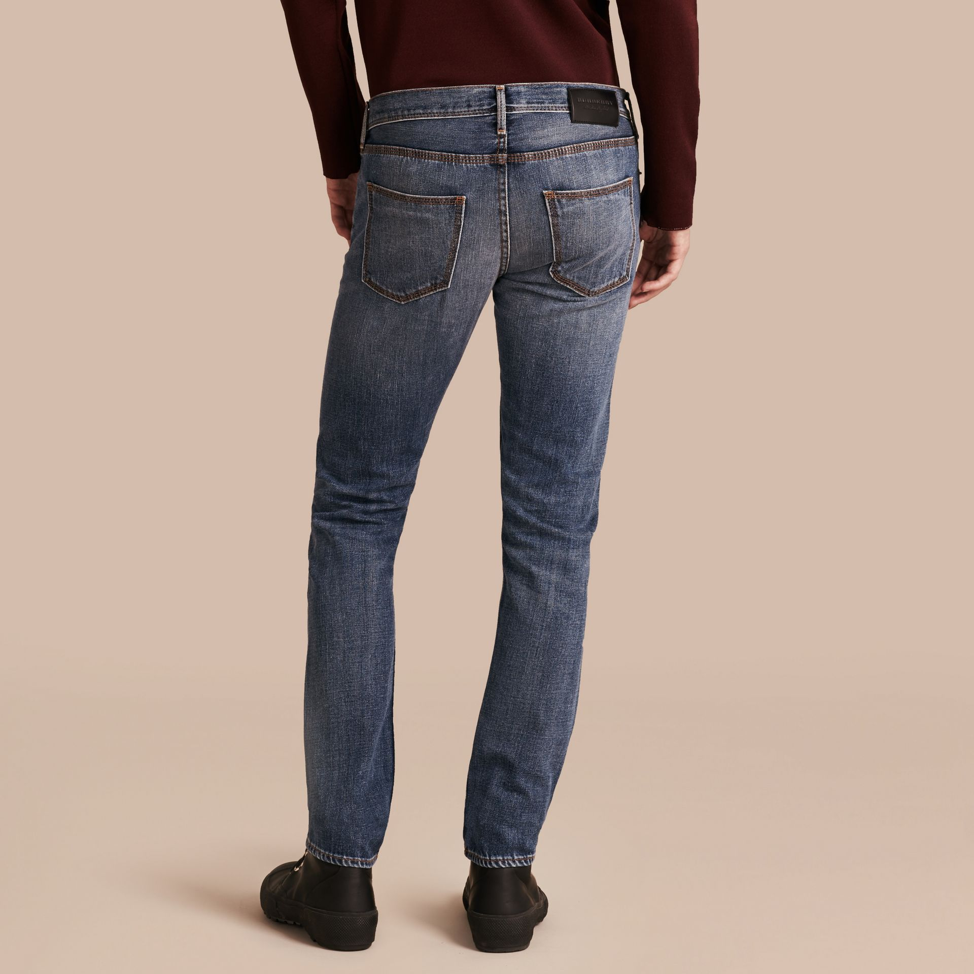 Indigo Skinny Fit Japanese Selvedge Denim Jeans - gallery image 3