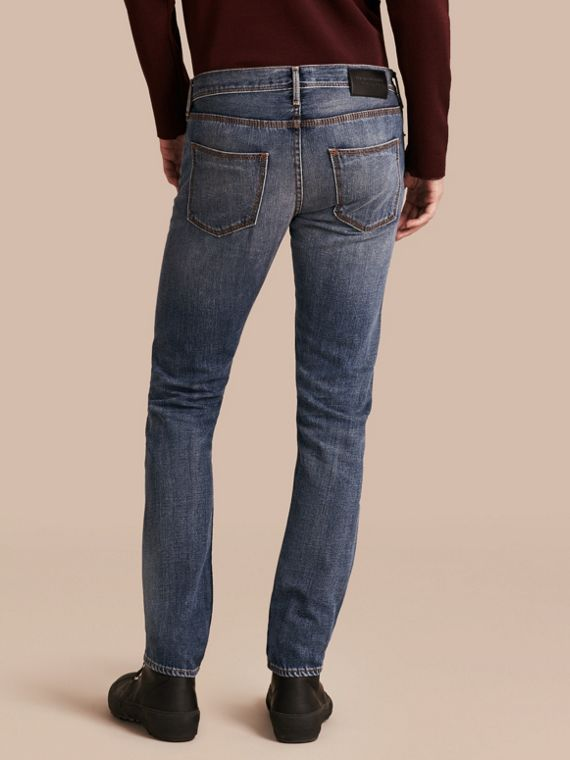 Indigo Skinny Fit Japanese Selvedge Denim Jeans - cell image 2