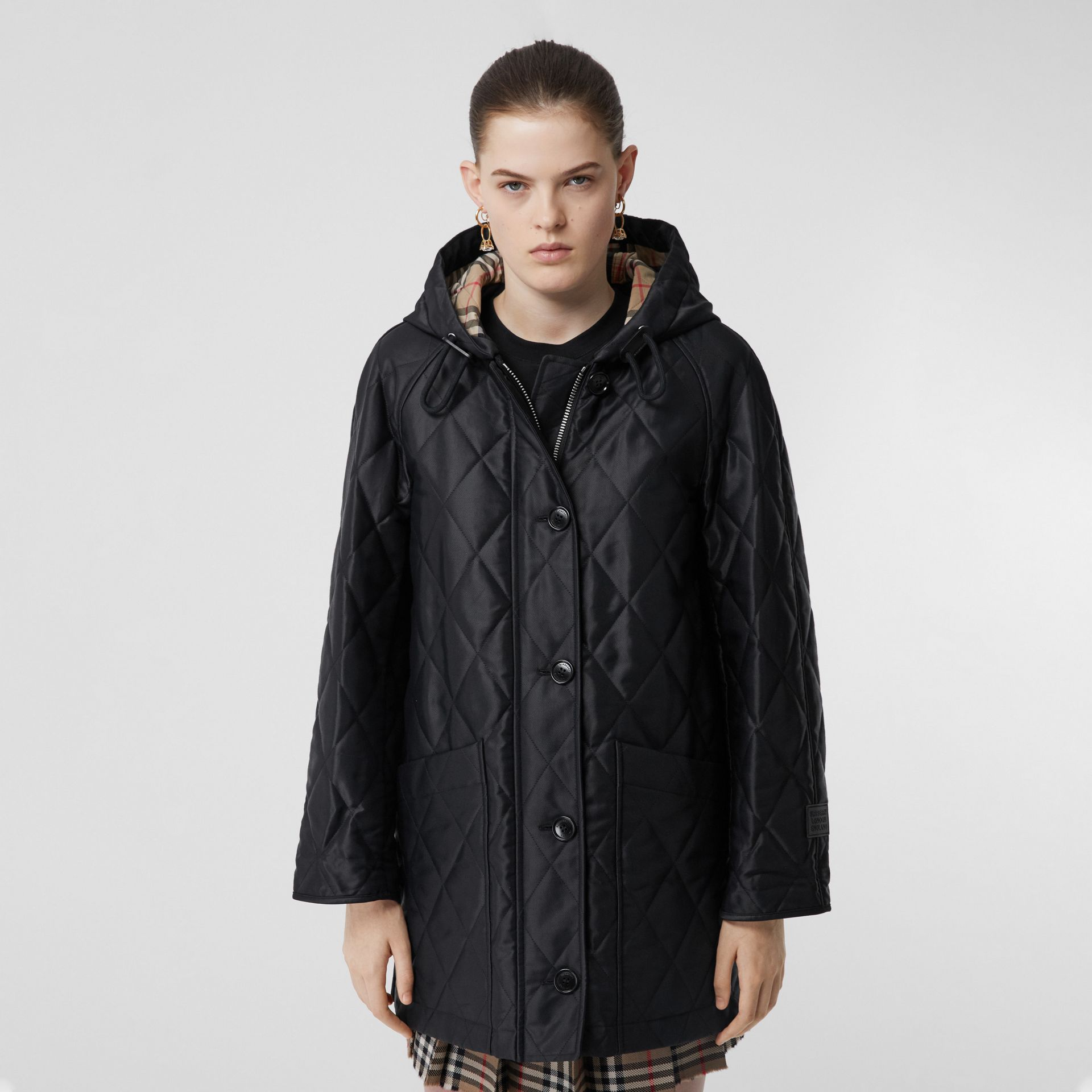 Diamond Quilted Cotton Hooded Coat in Black - Women | Burberry - gallery image 5