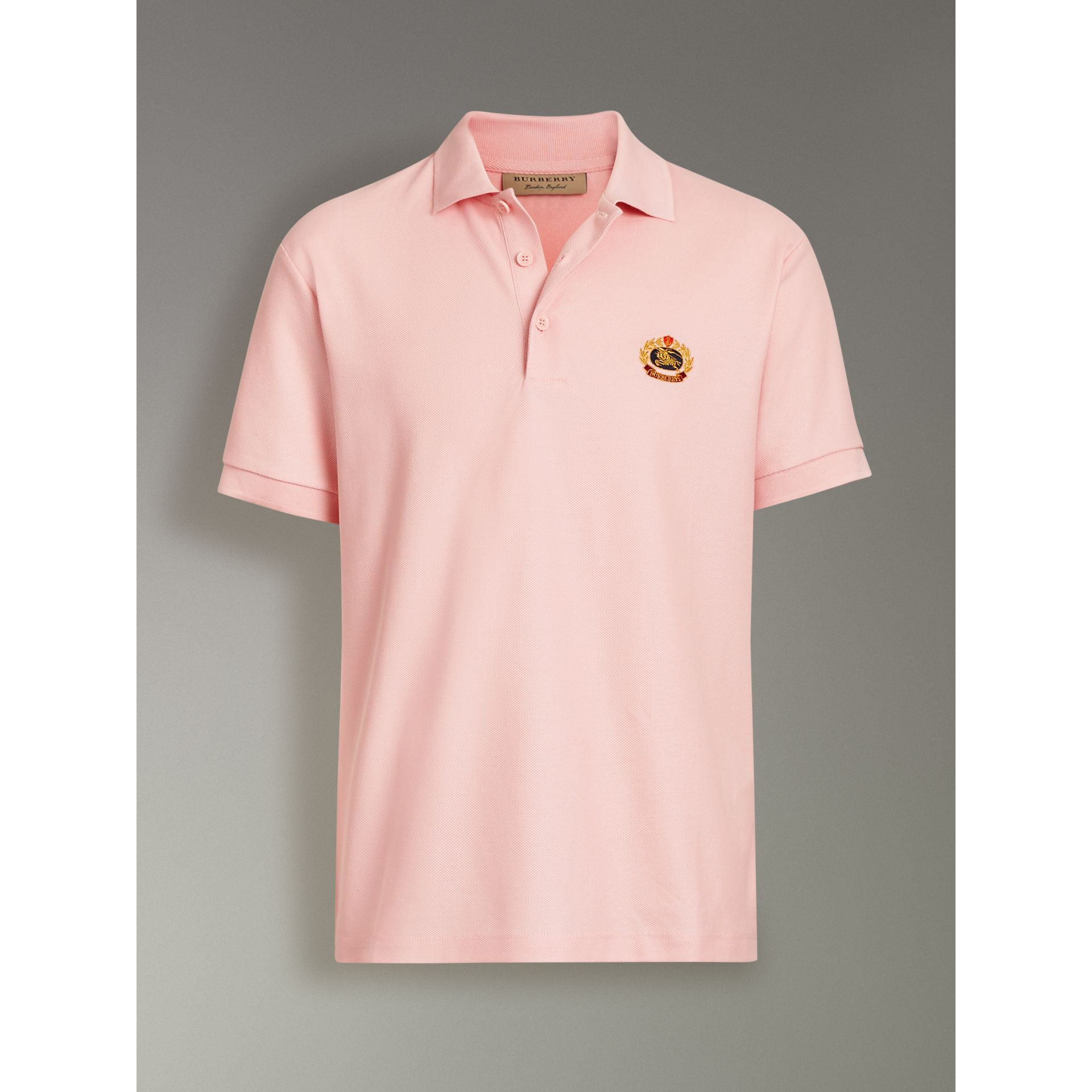 Archive Logo Cotton Piqué Polo Shirt in Pale Pink - Men | Burberry - gallery image 3