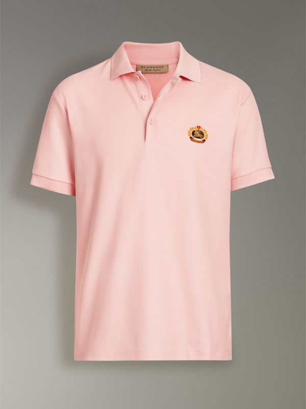 Archive Logo Cotton Piqué Polo Shirt in Pale Pink - Men | Burberry - cell image 3