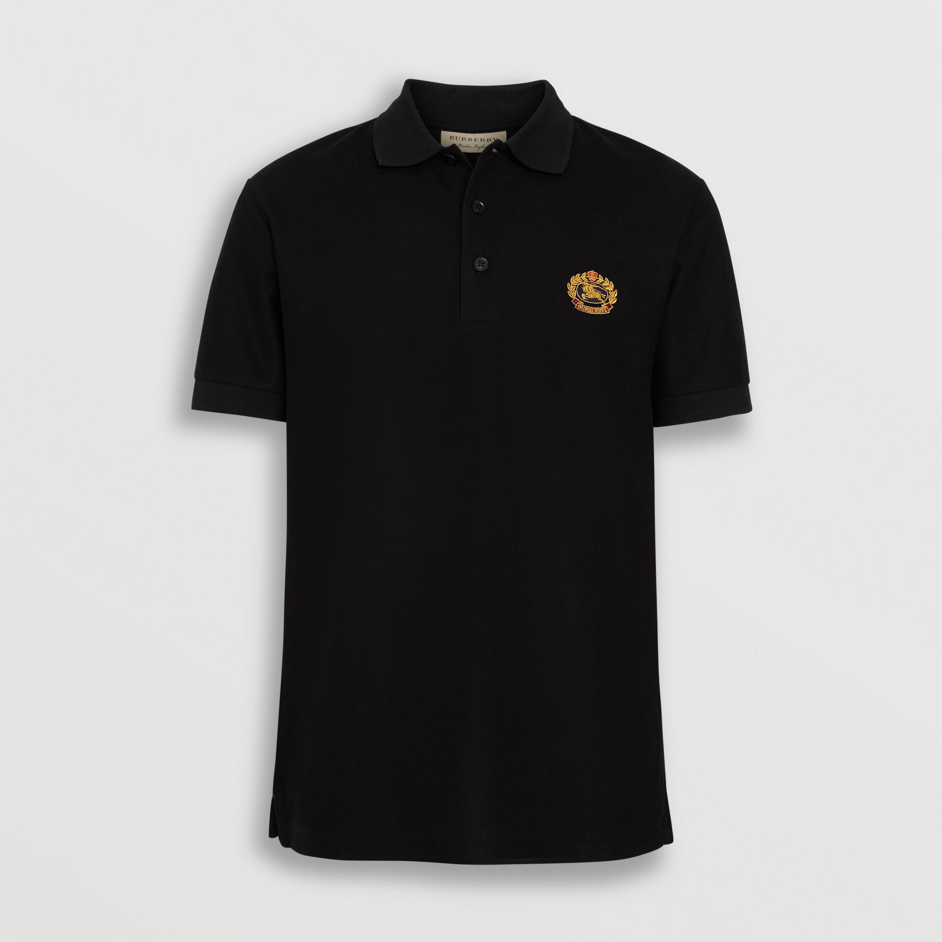 Archive Logo Cotton Piqué Polo Shirt in Black - Men | Burberry Australia - gallery image 3