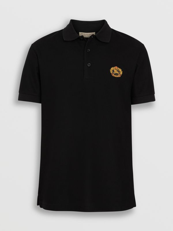 Archive Logo Cotton Piqué Polo Shirt in Black - Men | Burberry Australia - cell image 3