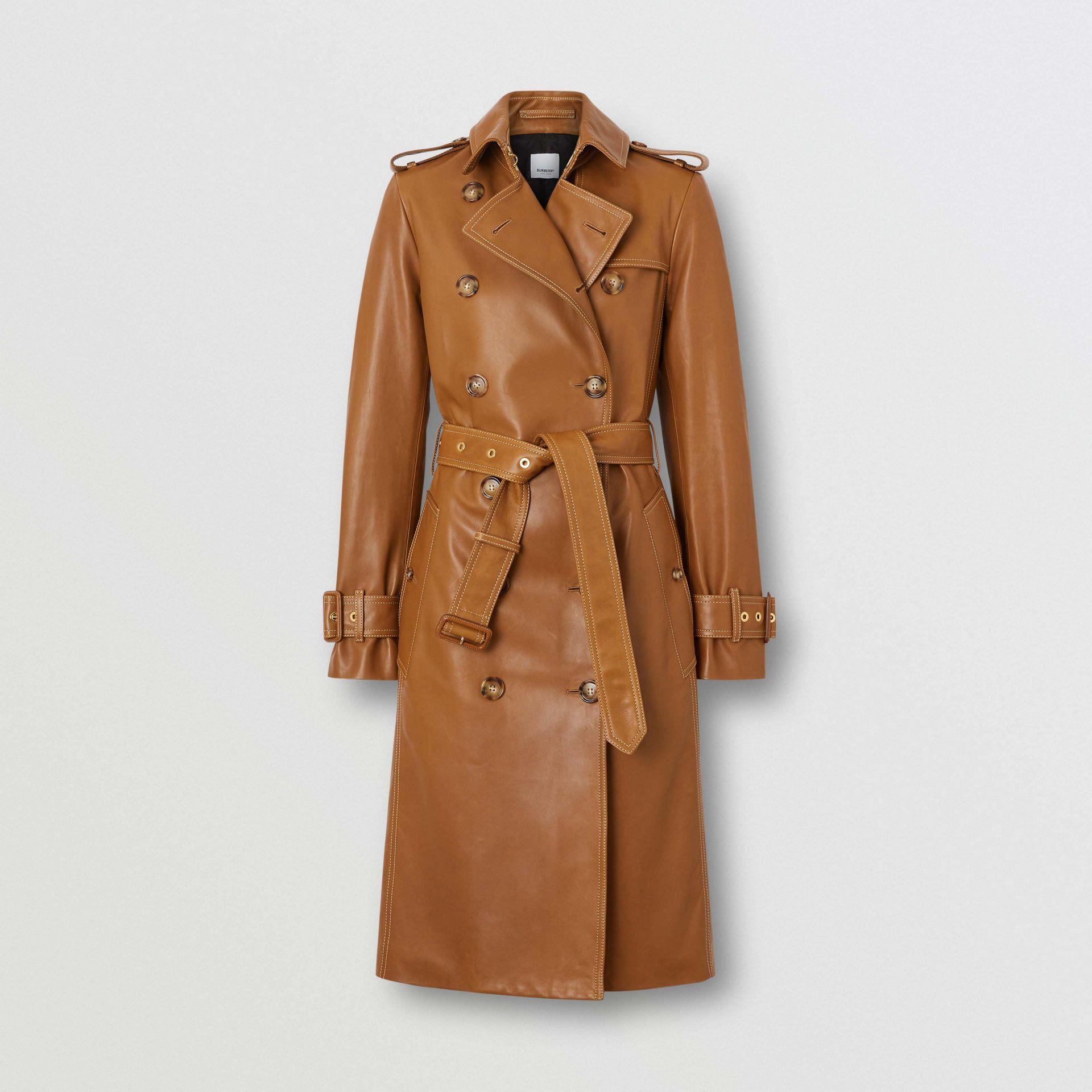 Topstitch Detail Lambskin Trench Coat in Maple - Women | Burberry - gallery image 3