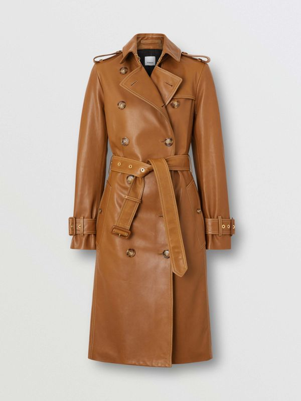Topstitch Detail Lambskin Trench Coat in Maple - Women | Burberry United Kingdom - cell image 3