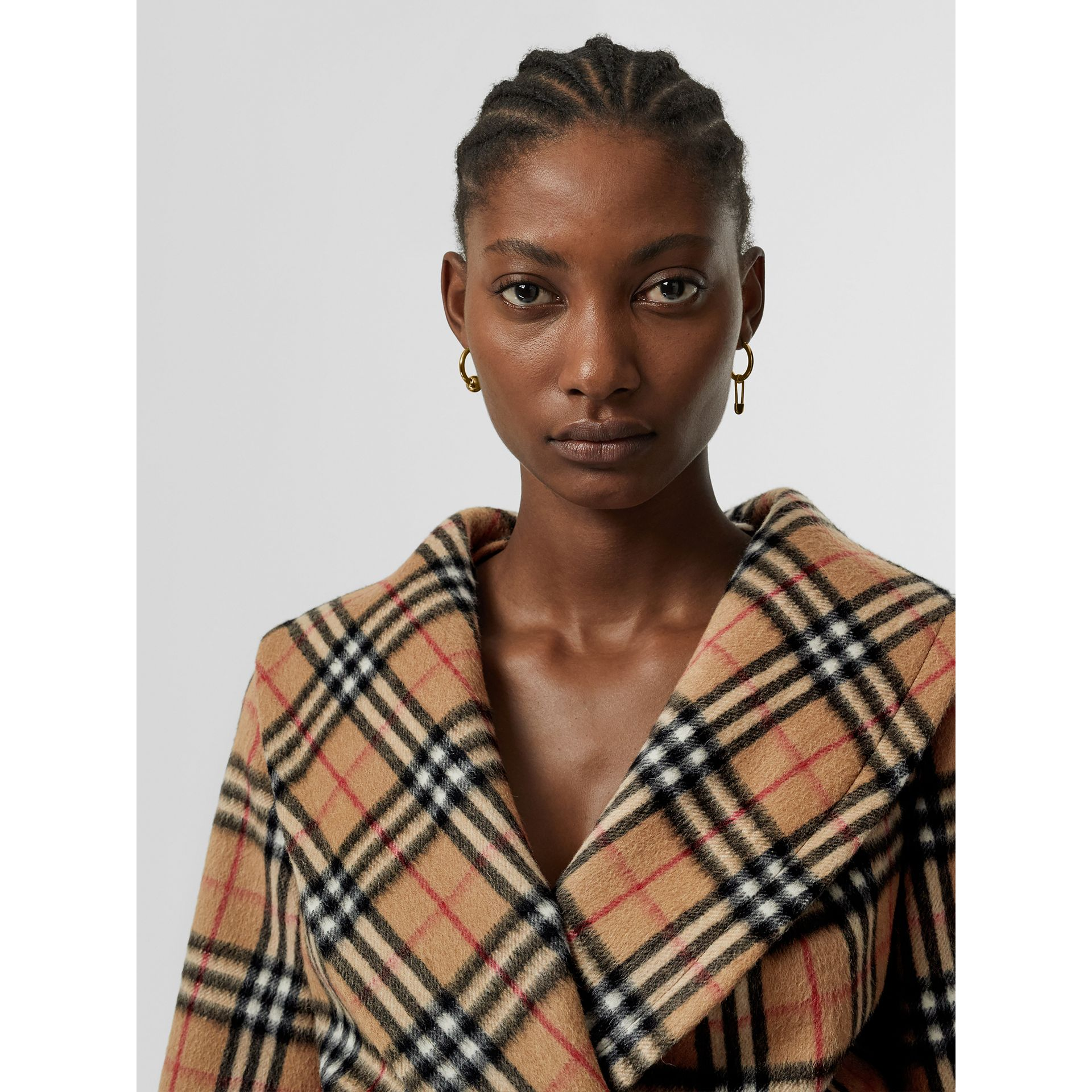 Vintage Check Alpaca Wool Hugger Jacket in Antique Yellow - Women | Burberry Australia - gallery image 7