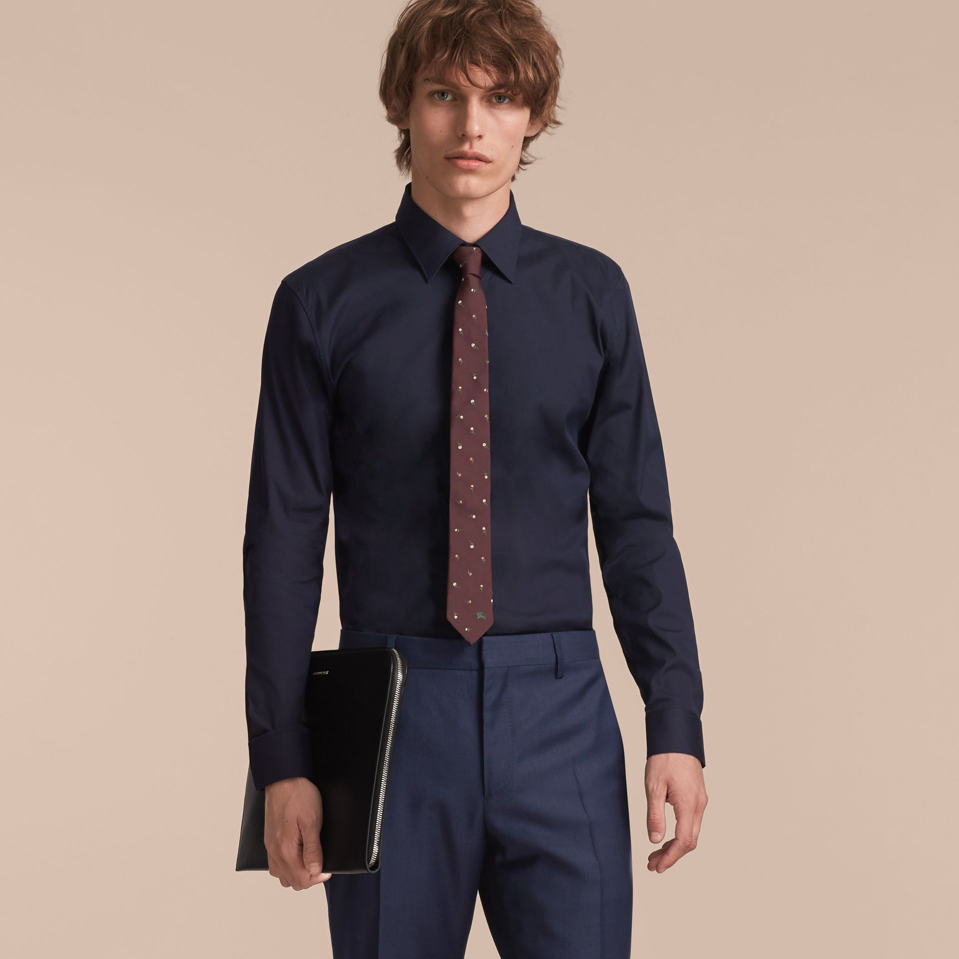 Slim Cut Floral Silk Jacquard Tie in Dark Cinnamon - Men | Burberry - gallery image 3
