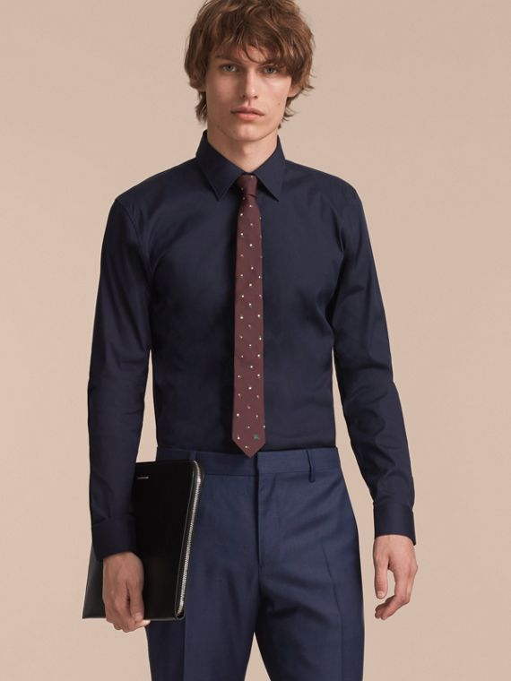 Slim Cut Floral Silk Jacquard Tie in Dark Cinnamon - Men | Burberry - cell image 2