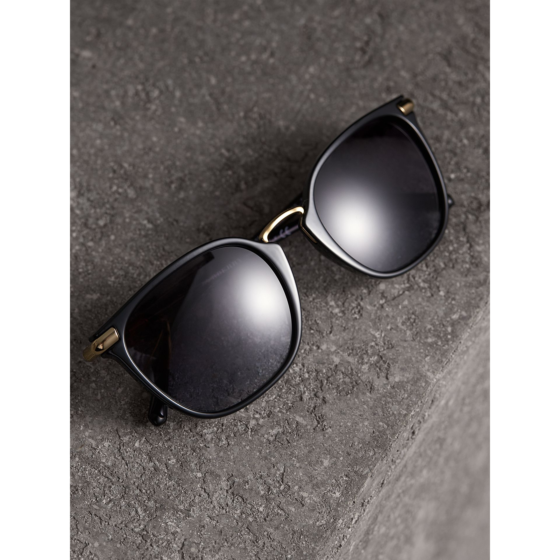 Check Detail Square Frame Sunglasses in Black - Women | Burberry Canada - gallery image 2