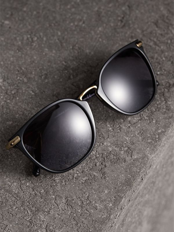 Check Detail Square Frame Sunglasses in Black - Women | Burberry - cell image 2