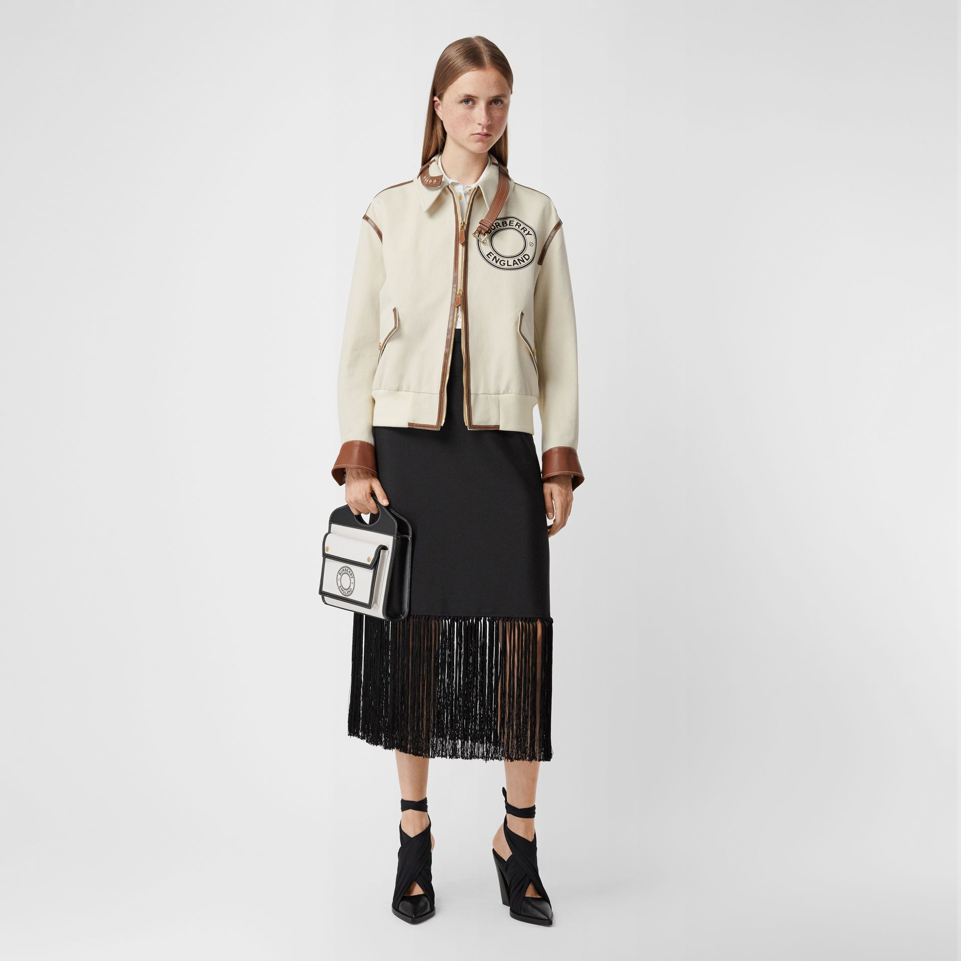 Logo Graphic Cotton Canvas and Lambskin Blouson in Vanilla - Women | Burberry Australia - gallery image 5